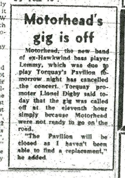 Motorhead Cancels August 1975