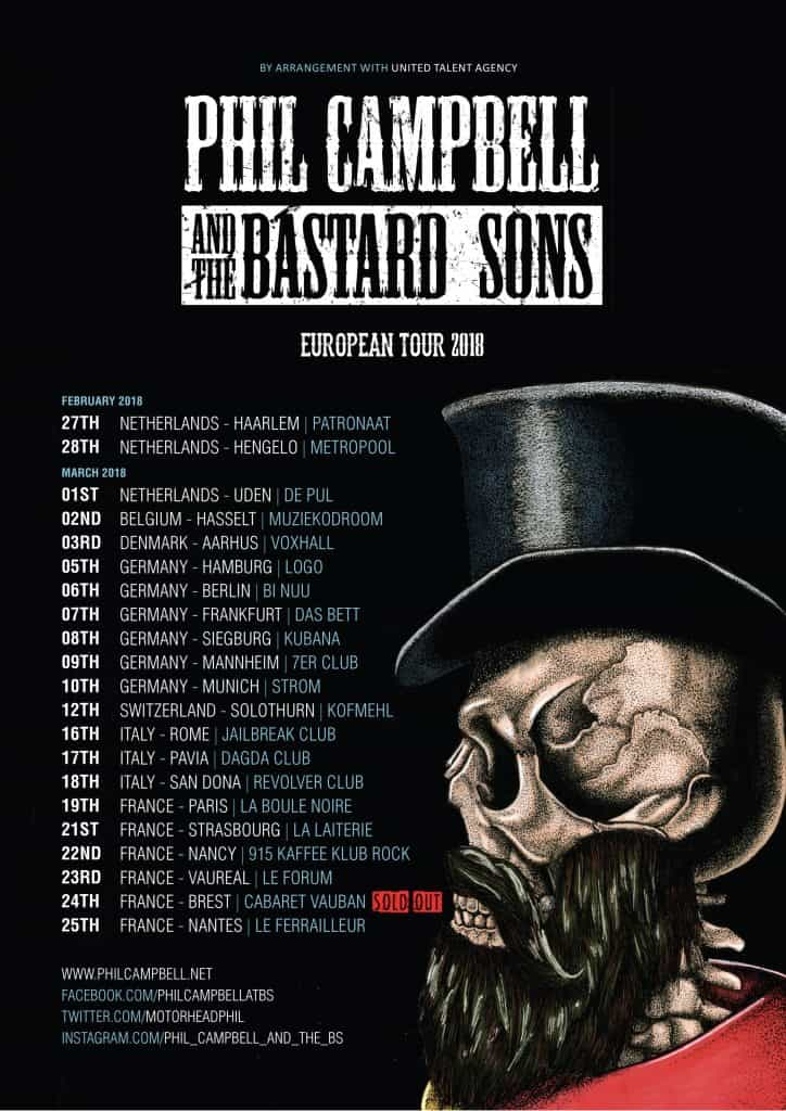 Phil Campbell Bastard Sons European tour 2018