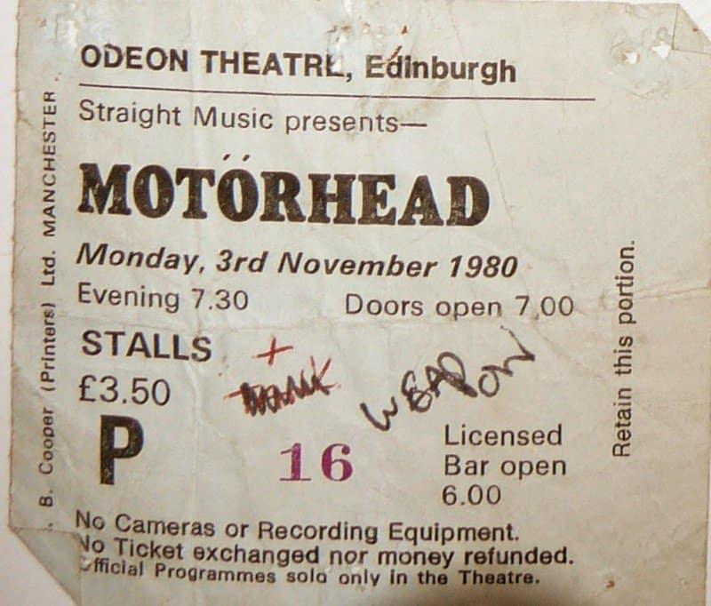 Motorhead Edinburgh 80