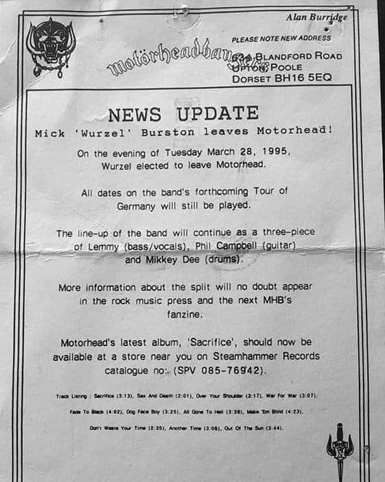 Wurzel leaves Motorhead March 28 1995